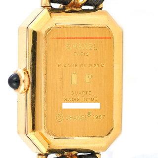 シャネルプルミエールXL腕時計GP×レザーレディースH0001文字盤黒クォーツCHANEL【中古】【送料無料】