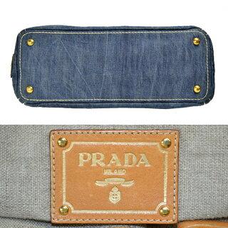PRADA/プラダ/デニム/カナパ/2wayトートバッグ/デニムブルーショルダーバッグ[中古][送料無料]