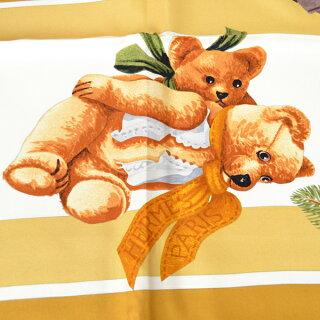HERMES/エルメス/シルク/大判スカーフ/カレ/ConfidentsDesCoeurs心の友/熊柄/茶系[中古][送料無料]