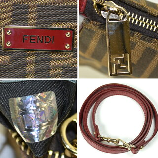 FENDI/フェンディ/8M0264/2WAYチェーンバッグ/茶色×赤ズッカ柄レディース【中古】【送料無料】