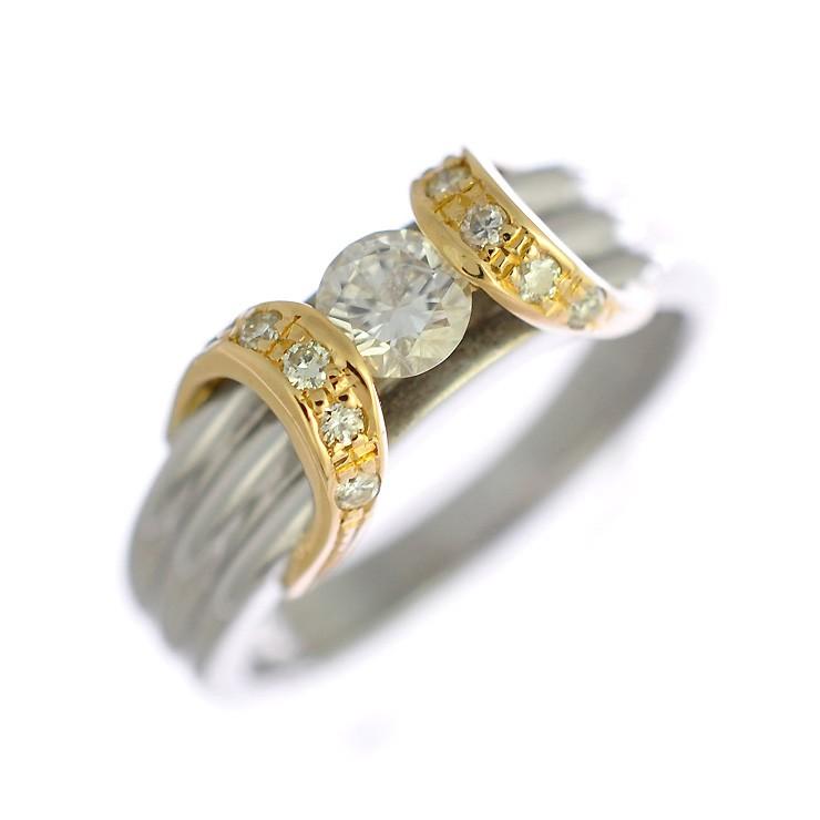 【スーパーSALE】プラチナ900 K18イエローゴールド リング ダイヤモンド レディース 9号 コンビカラー 【美品】【】【送料無料】 【美品】【】【送料無料】ジュエリー 女性 指輪 ダイヤモンドが輝くコンビカラーの指輪です