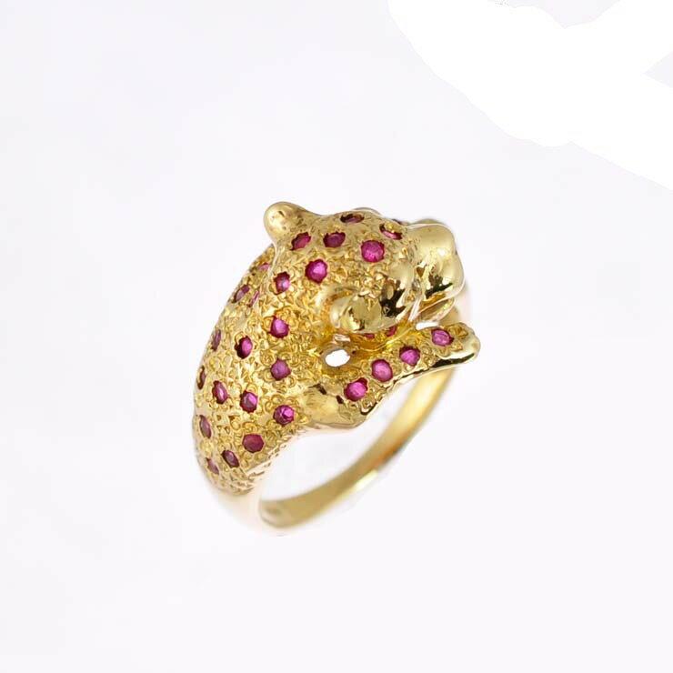 リング K18イエローゴールド ルビー ダイヤモンド チーター アニマル 指輪 K18YG サイズ:11.5号 ジュエリー レディース 【】【送料無料】 【送料無料】【】指輪 動物 女性 ユニークなアニマルモチーフのリングです。