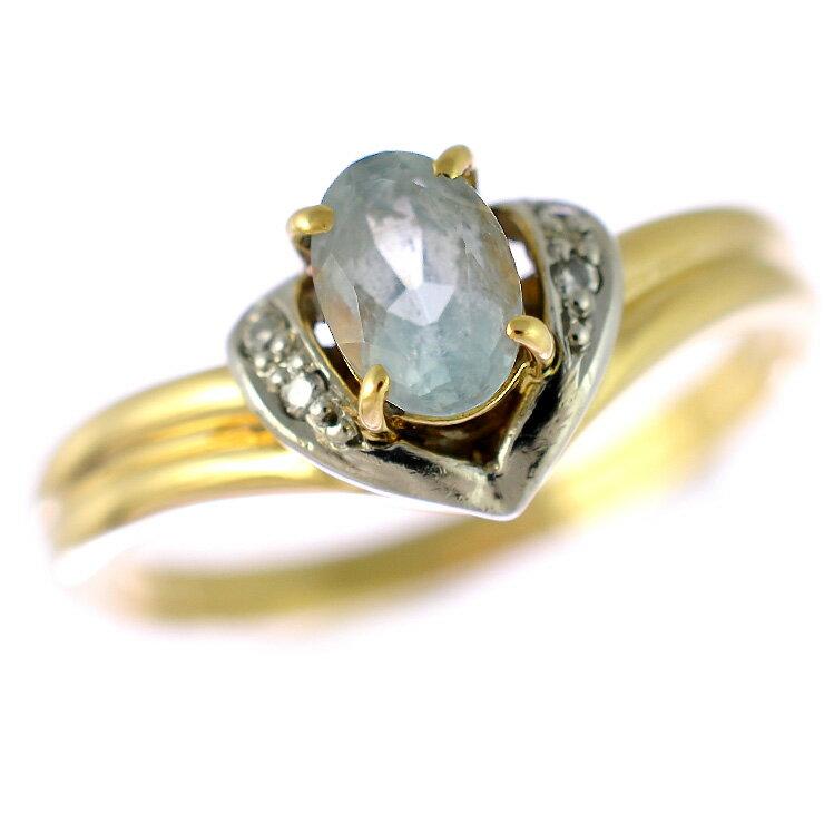 K18イエローゴールド プラチナ900 リング アクアマリン ダイヤモンド 11.5号 【】【送料無料】 【】【送料無料】ジュエリー 女性 指輪 コンビカラーが魅力的なリングです