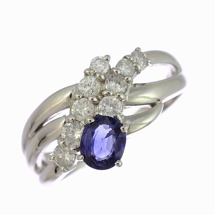 リング プラチナ900 サファイア ダイヤモンド オーバルカット 3連風 Pt900 指輪 サイズ:13号 ジュエリー レディース 【】【送料無料】【美品】 【送料無料】【】【美品】指輪 サファイヤ クロス ラウンド 上品なデザインのリングです。