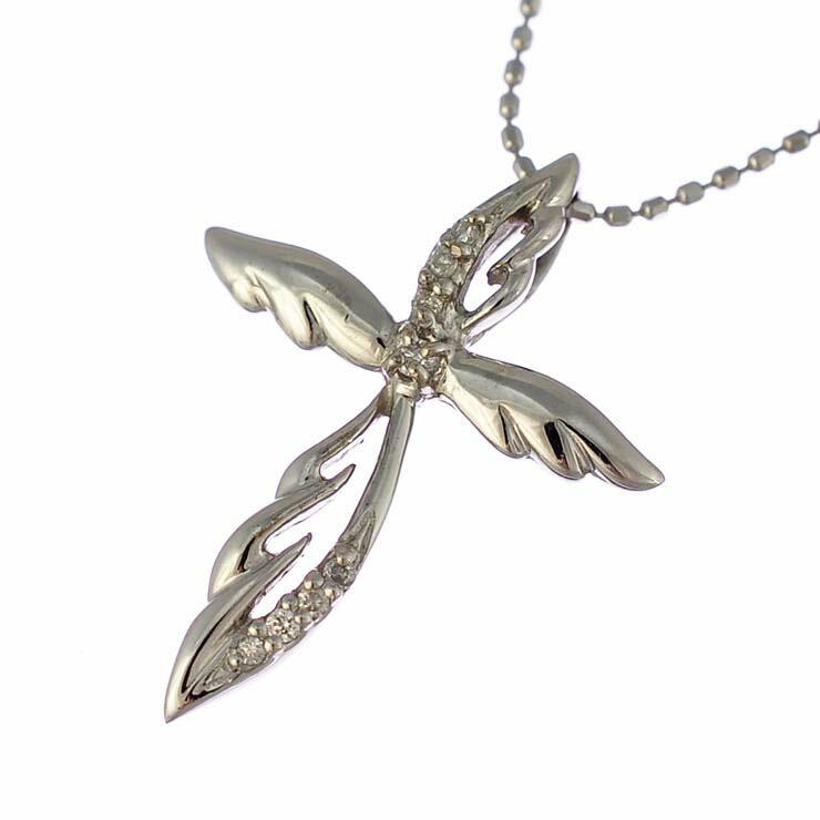 ペンダント K18ホワイトゴールド ダイヤモンド クロス 羽 K18WG ジュエリー レディース 【】【送料無料】【美品】 【送料無料】【】【美品】十字架 ウィング ラウンド ジュエリー 神秘的な魅力のあるクロスデザインのペンダントです。