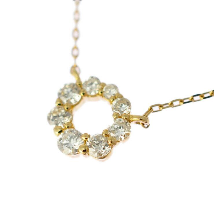K18イエローゴールド ネックレス ダイヤモンド 丸型 【美品】【】【送料無料】 【美品】【】【送料無料】ジュエリー 女性 ダイア 小柄なサイズが女性らしく気品のあるネックレスです