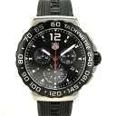 【中古】タグホイヤー フォーミュラ1クロノグラフ メンズ 腕時計 クオーツ ステンレススチール×ラバー 黒文字盤 CAU1110.FT6024 TAGHEUER 送料無料 美品