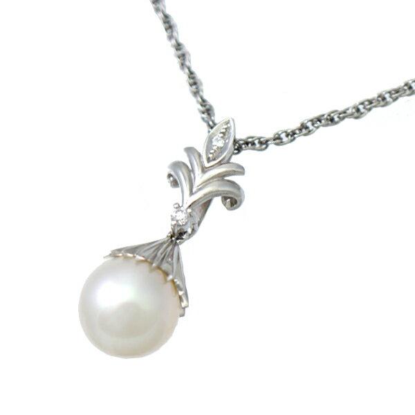 ネックレス ペンダント Pt900 Pt850 パール ダイヤモンド ダイヤ プラチナ レディース ジュエリー 【】【送料無料】【美品】 【】【送料無料】【レディース】【女性】【ジュエリー】パールとダイヤモンドが美しいネックレスです。
