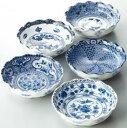 山勝美濃陶苑 食器セット 絵変り 波型 中鉢揃 5枚セット YAU-004AW【代引不可】