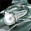 【送料無料】あこや真珠 8mmアップ パールダイヤリング 指輪 #9【代引不可】