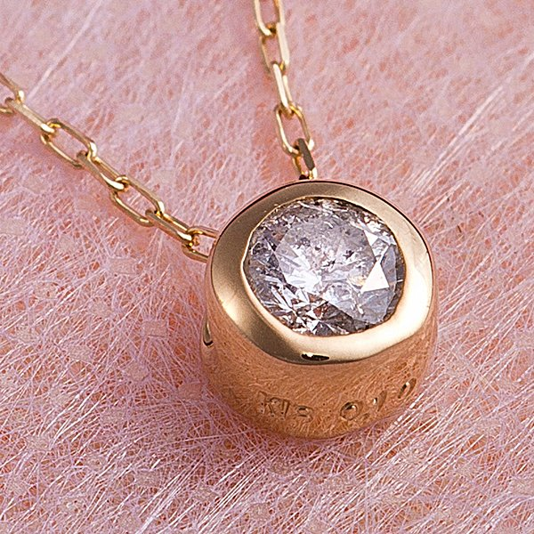 【送料無料】K18YG 0.1ctダイヤモンドフクリンペンダント【】 ダイヤネックレス 18金イエローゴールド 0.1ctダイヤ フクリンネックレス顧客が歓迎