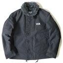 【送料無料】USタイプ 「N-1」 DECK ジャケット ブラック(裏ボアグレー)36(M)サイズ〔レプリカ〕【代引不可】