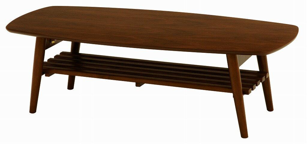 【送料無料】折れ脚テーブル MT-6923BR【】 ウォールナットが美しい折れ脚テーブル。棚もついているので雑誌や新聞をストック可能。スクエアサイズ。