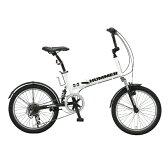 【送料無料】HUMMER(ハマー) 20インチ 折りたたみ自転車 FDB206 W-sus ホワイト 10557【代引不可】
