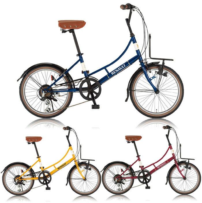 【送料無料】RENAULT(ルノー) 20インチ ミニベロ 小径自転車 6段変速 206L Classic-N LEDダイナモライト 後輪リング錠 フロントキャリア搭載【】 コンパクト20インチサイズで乗りこなしも簡単すばらしい