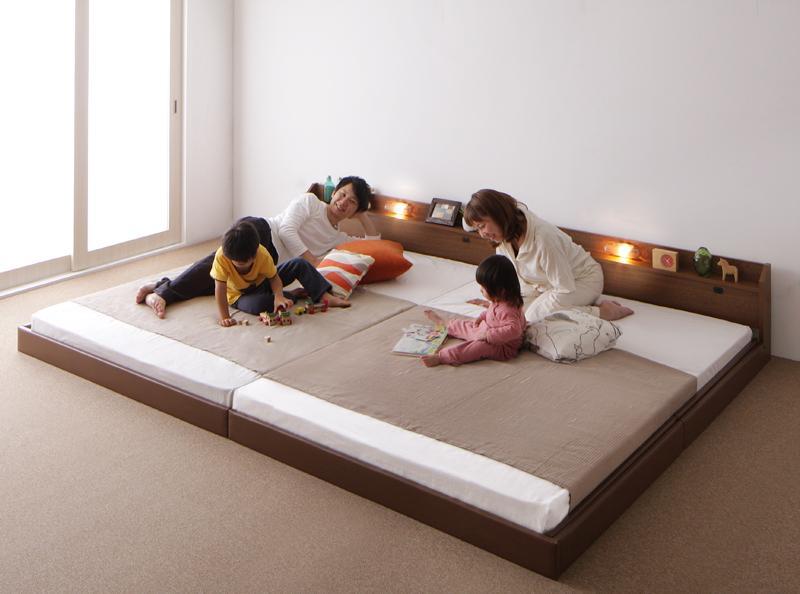 【送料無料】親子で寝られる棚・照明付き連結ベッド〔JointJoy〕ジョイント・ジョイ〔日本製ボンネルコイルマットレス付き〕ワイドK280 ホワイト【】 【日本製ボンネルコイルマットレス付き】ワイドK280 ホワイト【人気のあります】