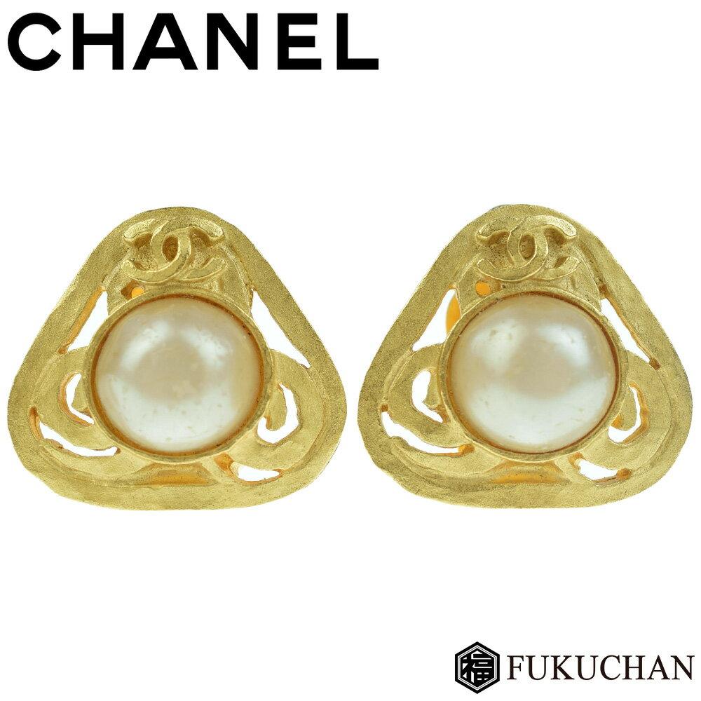 【CHANEL/シャネル】ココマーク×パール トライアングル イヤリング 95P ゴールド×フェイクパール 【】 可愛い三角形がポイントのヴィンテージアクセサリー♪
