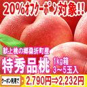 【クーポン利用で20%オフ】【送料無料】献上桃の郷、桑折町の『特秀品桃』1kg箱(3〜5
