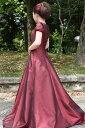 【白雪姫×クラシカル】パフスリーブの袖付きロングフレアードレス グリーン 緑 レッド 赤 パープル 紫 ゴールド 金色 S号 M号 L号