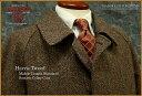 ■TRAD SALE!Harris Tweed / ハリスツイード ミドルレングス・スタンダード・ステンカラーコート ハーフコート ( ブラウン系ヘリンボー..