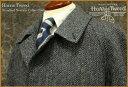 ■TRAD SALE! 【 Harris Tweed / ハリスツイード 】 スタンダード・ステンカラーコート ( グレー×黒×ブルー系ヘリンボーン ) 950...