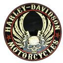 エンボスメタルサイン5 H-D FLYING SKULL BUTTON ハーレーダビッドソン ブリキ看板アメ雑 アメリカン雑貨 ガレージインテリアハーレーダビットソン サインプレート バイク HARLEY-DAVIDSON