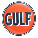 【 エンボスメタルサイン38 】GULF ROUND【ガルフ 看板 メタルサイン アメ雑 アメリカン雑貨 ガレージ 】