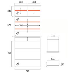 食器棚マリアMA−ドアタイプ上置き&9080Cキッチンキャビネット【日本製】内寸図