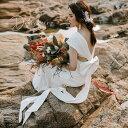 前撮りドレス ウェディングドレス エンパイアライン スレンダー バックリボン ロング ワンピース 白 結婚式 二次会 披露宴 前撮り 後撮..