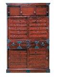受注生産 民芸家具 和 民芸食器棚水屋箪笥 115cm幅 「筑後民芸 112格子」国産 開梱設置