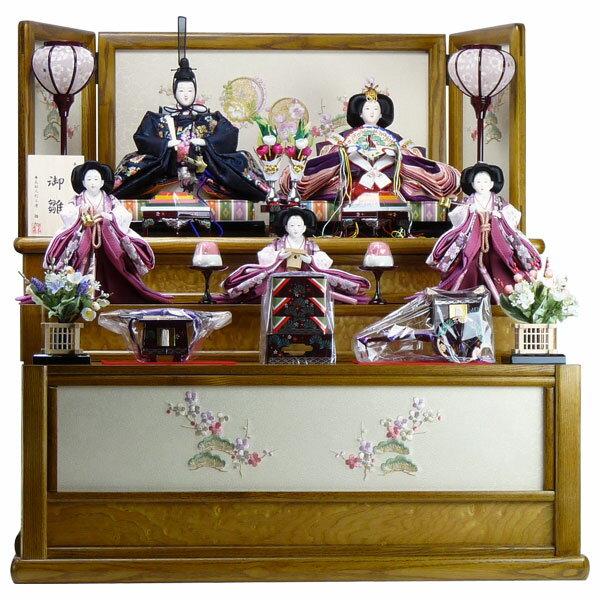 【ポイント10倍】 雛人形 ひな人形 五人収納飾りタモ材収納台 雛飾り 節句人形 五人飾り お雛様
