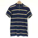 【古着】 RALPH LAUREN ラルフローレン ボーダーポロシャツ 90年代 ワンポイント刺繍 ネイビー系 ユースXL n002638