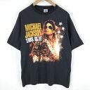 ショッピングTHIS 【古着】 MICHAEL JACKSON マイケルジャクソン バンドプリントTシャツ THIS IS IT ブラック系 メンズL 005321