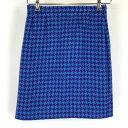 【古着】 ジバンシィ ウールスカート made in FRANCE 千鳥柄 ミニ丈 ブルー系 レディースW26 n009893