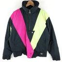 ショッピングスキーウェア white stag ダウンジャケット ネオンカラー 切替デザイン 80年代 スキーウエア ブラック系 レディースM n011889