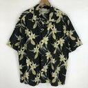 ショッピングハワイアン 【古着】 CUTTER&BUCK ハワイアンシャツ TIKI 花柄 ブラック系 メンズXL 【中古】 n021197