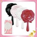 【日本製】ロマンチックローズ 薔薇のミニハンドミラー ブラック・ピンク・ホワイト・レッド(バラ/手鏡)【メール便も可能】
