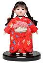 【木目込市松】【市松人形】市松人形6号 木目込三つ編頭友禅衣装市松:京華作:ケース入【ひな人形】【浮世人形】