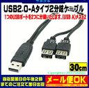 USB2.0 A端子2分岐ケーブルUSB2.0 Aタイプ(オス)-USB2.0 Aタイプ(メス)x2個COMON(カモン) 2A-Y●USB2.0(オス)端子側ICチップ入り●USB2.0の機器を2つ取り付け可能