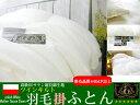 ポーランド産マザーホワイトグースダウン95%ツインキルト80サテン長超綿使用プレミアムゴールドクラス羽毛掛ふとんセミダブルロングサイズ(170×210cm)