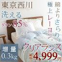 肌掛け布団 羽毛 シングル 洗える 夏用 東京西川 ダウン85% 綿よりさらさら『レーヨン』を15%混 西川産業 羽毛肌布団 ウォッシャブル夏用羽毛肌掛け布団シングル