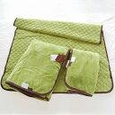 毛布♪【レビューを書いて送料無料】ChocoLiv(ショコリブ) 西川リビングのマイクロファイバー毛布3点セット(ふわっと毛布+敷きパッド+ひざ掛け) グリーン♪♪♪【ブランケットもうふ・毛布・寝具】【5%OFF】【P0121】