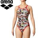 メール便送料無料 アリーナ 水泳 スーパーフライバック レディース DIS-0354W-BKRD
