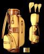 【WINWINスタイル】Classicキャディバック 8.5型ヘッドカバーセット本革×帆布 GOLD Version総ハンドメイド・国産キャディバッグ fs04gm 02P12Oct15