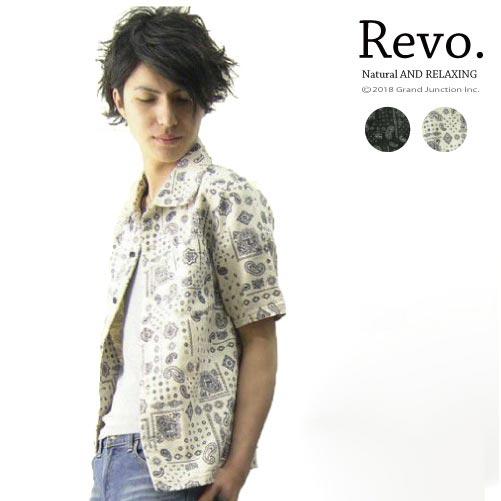 【Revo.】レボ ペイズリー柄プリント半袖シャツ ナチュラル、ブラック メンズ