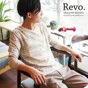 [Revo.]ジャカードボーダープリントVネックTシャツ 7分袖総柄 レボ
