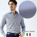 イタリアシャツ カジュアル メンズ イタリア製 ビジネス 小紋柄 セミワイド ブルー 190652-010 GALLIPOLI camiceria ガリポリカミチェリア