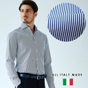 イタリア製 カジュアルシャツ ブルーストライプ柄 セミワイド イタリアシャツ トラッド ビジネスシャツ 190652 GALLIPOLI camiceria ガリポリカミチェリア
