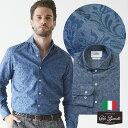 日本製 イタリア生地 メンズシャツ フェードフラワープリント カッタウェイ 秋冬 600661-010 GALLIPOLI camiceria