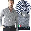 日本製 イタリア生地 メンズシャツ ジオメトリックプリント カッタウェイ 600665-008 GALLIPOLI camiceria ガリポリカミチェリア
